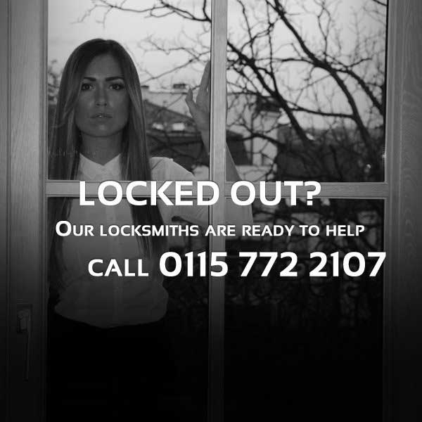Locked out requiring a locksmith in Nottingham